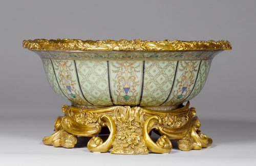 A LARGE BOWL WITH BRONZE MOUNTS,