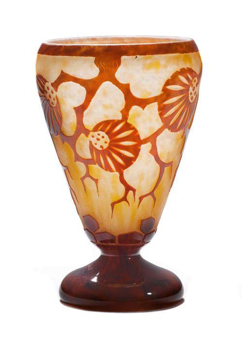 Schneider vase quotepinettesquot um 1925 weisses glas orange uber for Wei es glas