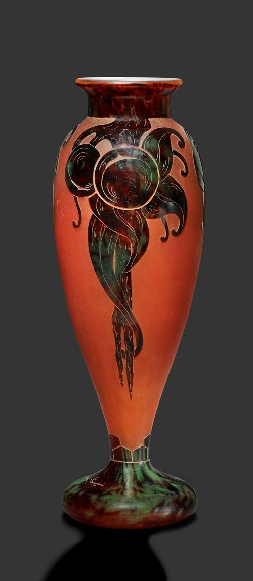 "SCHNEIDER VASE ""Prunes"", circa 1920 Red glass with violet overlay and etching. Plum decoration. Signed Le Verre Français. H. 46 cm."