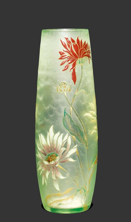 EMILE GALLE VASE, circa 1900 Light green glass with etching and enamelling. Chrysanthemum motif. Signed Gallé. H. 34 cm.