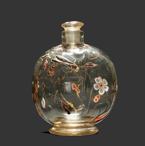 EMILE GALLE SMALL BOTTLE, circa 1880 Enamelled beige glass with trailing flowers and insect. Signed E. Gallé Nancy. H. 10.5 cm.
