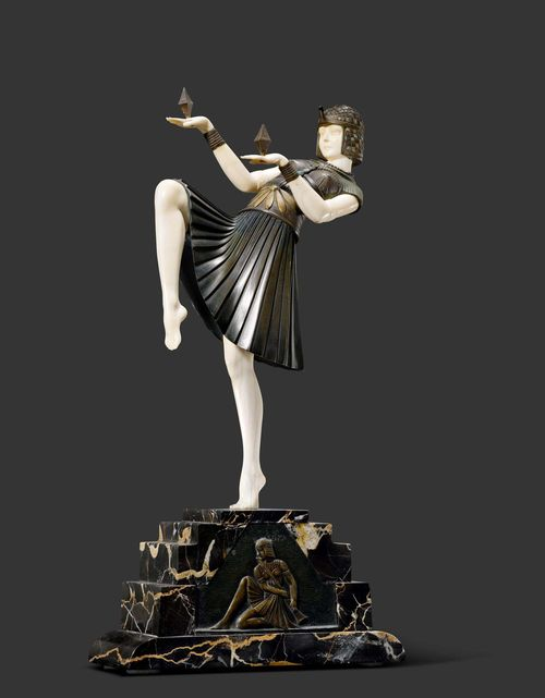 "DEMETER H. CHIPARUS (1888-1950) SCULPTURE ""Nubian Dancer"", circa 1925 Bronze, carved ivory. Dancer. Signed D. H. Chiparus. Plinth height has been slightly reduced. Base with restoration. H. 38.5 cm."
