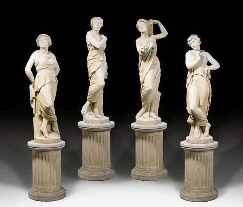 SET OF 4 GARDEN SCULPTURES, Empire style, in part after designs by A. CANOVA (Antonio Canova, Possagno 1757-1822 Venice), northern Italy circa 1900. Sandstone. Repairs and some losses. H approx. 230 cm. Provenance: - Private collection, Munich. - Galerie Koller Zurich 21.06.2007 (Lot No. 1317). - West Swiss private collection.