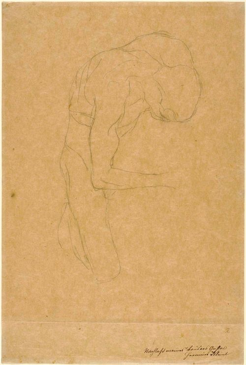 "KLIMT, GUSTAV (1862 Vienna 1918) Gebeugt kniender Männerakt. 1904. Black chalk on paper. Inscribed lower right: Aus dem Nachlass meines Bruders Gustav Klimt Hermine Klimt. 44 x 29.8 cm. Provenance: - Gustav Klimt estate. - Hermine Klimt. - Private collection, Switzerland. Literature: Strobl, Alice. Gustav Klimt ""Die Zeichnungen"", vol. II, Salzburg, 1982, No. 1416A."