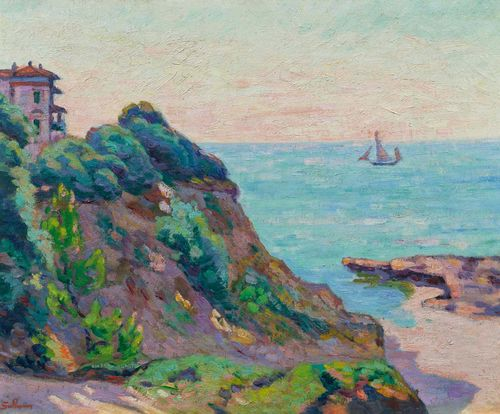 GUILLAUMIN, JEAN-BAPTISTE ARMAND (1841 Paris 1927) Haus auf Felsen am Meer. Oil on canvas. Signed lower left: Guillaumin. 50 x 61 cm.