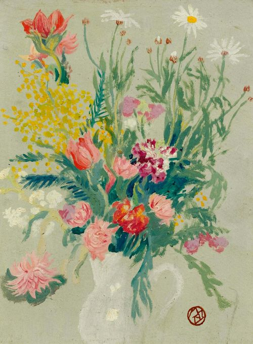 DENIS, MAURICE (Granville 1870 - 1943 Paris) Bouquet de fleurs. Circa 1916. Oil on board. Monogrammed lower left in pencil: M.D. Round monogram atelier stamp lower right. 34 x 26 cm. Claire Denis has confirmed the authenticity of this work: Paris, 7 July 2013. The work will be included in the Catalogue Raisonné. Provenance: - The artist's studio. - Madeleine Follain (daughter of Maurice Denis). - Private collection, Geneva (sold through Wildenstein).