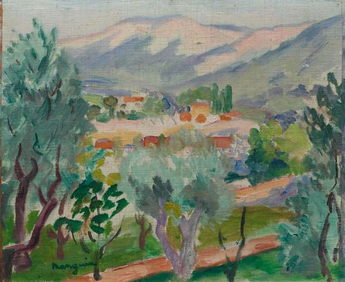 "MANGUIN, HENRI (Paris 1874 - 1949 St. Tropez) Paysage autour de ""La Serivanne"". 1919. Oil on canvas, laid on board. Signed lower left: manguin. 33 x 40 cm. Provenance: - R. Bühler collection, Winterthur (acquired from the artist in 1920). - Private collection Zurich. Literature: - Manguin, Lucile et Claude. Henri Manguin, Catalogue Raisonné de l'oeuvre peint, Neuchâtel 1980, p.219, No. 614 (with ill)."