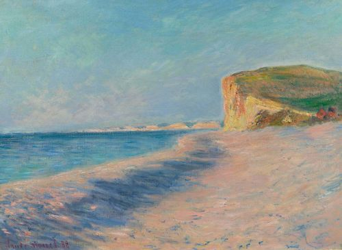 MONET, CLAUDE (Paris 1840 - 1926 Giverny) Pourville près Dieppe. 1882. Oil on canvas. Signed and dated lower left: Claude Monet 82. 60.5 x 81.5 cm. Provenance: - Boussod, Valadon et Cie (acquired directly from the artist). - Georges Viau, Paris (1892). - Vente George Viau, Paris, Durand-Ruel, 4 March 1907, No. 40. - Mrs. Charles H. Sneff, New York (1916). - Durand-Ruel, New York (1917). - Private collection, USA. - Koller Auctions 14 November 1992, Lot 5020. - Private collection, Germany, acquired at the above auction. Exhibited: - Brussels 1907: Palais du Cinquantenaire, Exposition des Beaux-Arts. - Zurich 1908. - New York 1915: Galerie Durand-Ruel, Monet-Renoir, No. 6. Literature: - Wildenstein, Daniel. Claude Monet, Biographie et Catalogue Raisonné, Lausanne- Paris, 1979, vol. II, No. 717 (with ill, p. 63).