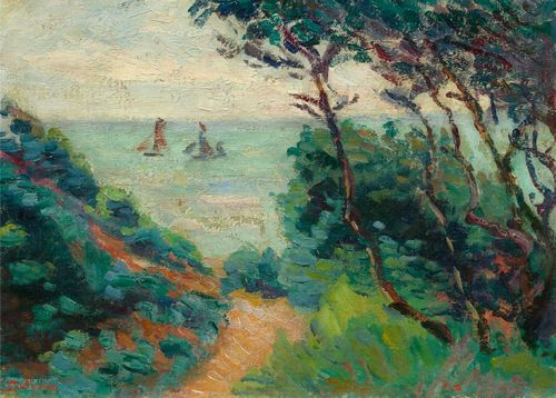 GUILLAUMIN, , JEAN-BAPTISTE ARMAND (Paris 1841 - 1927 Orly) La Côte de l'Esterel, Paysage du midi. Circa 1905. Oil on canvas. Signed lower left: Guillaumin. 24 x 33 cm. The Comité Guillaumin has confirmed the authenticity of this work: Paris, 6 June 2013. It will be included in the second volume of the catalogue raisonné which is currently being prepared. Provenance: Swiss private collection, since 1920.