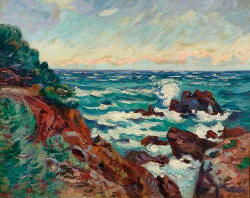 GUILLAUMIN, JEAN-BAPTISTE ARMAND (1841 Paris 1927) Pointe de la Baumette. Circa 1895. Oil on canvas. Signed lower left: Guillaumin. 54 x 65 cm Ge. Serrat and D. Fabiani have confirmed the authenticity of this work: Paris, 26 April 1995. It will be included in the second volume of the catalogue raisonné which is currently being prepared. Provenance: - Koller Auctions 4 June 1983, Lot 5116. - Private collection, Germany, acquired at the above auction.