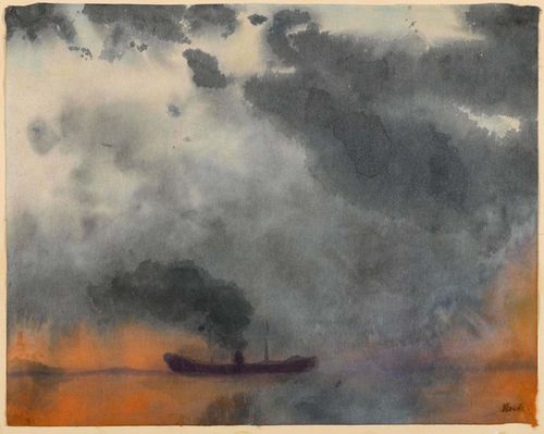NOLDE, EMIL (Nolde 1867 - 1956 Seebüll) Dampfer. Circa 1920. Watercolour on paper. Signed lower right: Nolde. 36.5 x 45.5 cm. Dr. Manfred Reuther has confirmed the authenticity of this work: Seebüll, 18 September 2013. The watercolour is registered at the Nolde Foundation Seebüll. Provenance: - The artist's studio. - Hanns Krenz, Berlin (acquired directly from Ada and Emil Nolde). - Private collection, Basel (acquired directly from the above owner in 1954). - Private collection, Basel (via inheritance to the current owners).