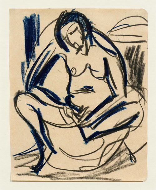 KIRCHNER, ERNST LUDWIG (Aschaffenburg 1880 - 1938 Davos) Akt. 1925. Blue and black chalk on paper. 22 x 17.5 cm. This work is documented at the Ernst Ludwig Kirchner Archive, Wichtrach/Bern. Provenance: Private collection, Germany. .