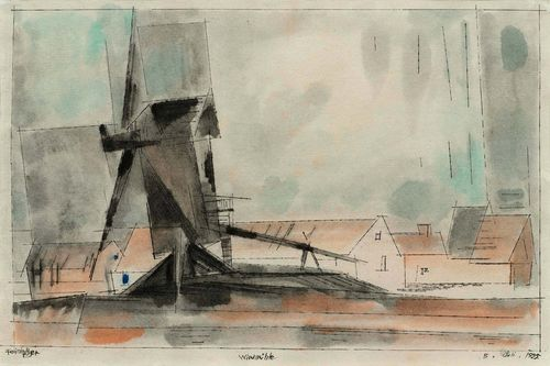 FEININGER, LYONEL (1871 New York 1956) Die Windmühle. 1925. Watercolour and pen on paper. Signed lower left: Feininger, also dated lower right: 8. Juli 1925 and entitled centre bottom: Windmühle. 28.9 x 40.6 cm. Achim Moeller, director of the Lyonel Feininger Project LLC, has confirmed the authenticity of this work. The work is registered at the archive of the Lyonel Feininger Project LLC, New York - Berlin, under number 1231-10-11-13. Provenance: - Galerie Stefan Röpke, Cologne (stamp verso). - Galerie Utermann, Dortmund (stamp verso). - Private collection, Switzerland, acquired at the above gallery in 1991.