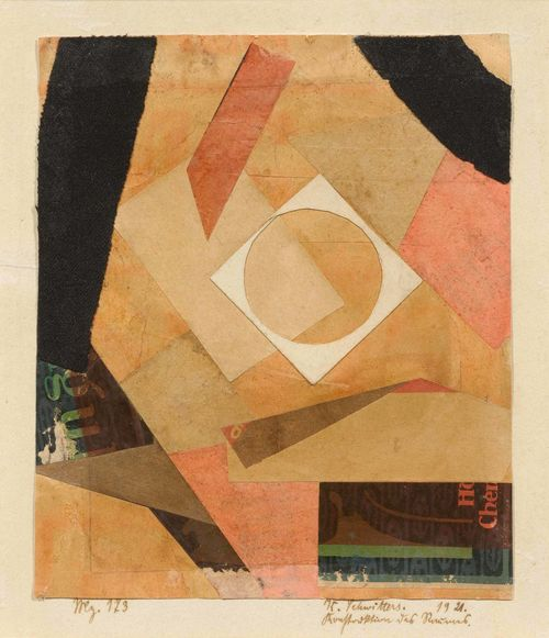 SCHWITTERS, KURT (Hannover 1887 - 1948 Kendal) Konstruktion des Raumes (Merzzeichnung). 1921. Collage, paper on paper. Signed, dated and entitled lower right: K. Schwitters 1921 Konstruktion des Raumes, also inscribed lower left: Mz 173. 20.8 x 17.3 (image), 39 x 31.7 cm (Original passepartout). Provenance: - Galerie Berggruen, Paris (purchase before 1952 ). - Sidney Janis Gallery, New York (1952 -1953, label verso). - Walter Bareiss, Zurich (1953 - 1967). - Galerie Arnoldi-Livie, Munich 1978. - Jan Krugier Fine Art, New York (until 1985). - Private collection (1985). - Private collection Los Angeles, via inheritance (until 2000). - Galerie Jan Krugier, Ditesheim & Cie., Geneva (from 2000, label verso). - Private collection, Switzerland. Exhibited: - New York 1952: Sidney Janis Gallery. Collage, Paintings, Relief & Sculpture by Schwitters, 13.10.-8.11.1952, Cat. No. 10. - New York 1954: Museum of Modern Art, Junor Council. Joung collectors, 5.-28.11.1954, Cat. No. 48 (label verso). - New York 1958: Museum of Modern Art, The Guest House. Collection of Mr. and Mrs. Walter Bareiss, 23.4.-11.5.1954, Cat. No. 46 (with ill.). - Kassel 1967: Staatliche Kunstsammlung Kassel. Sammlung Walter Bareiss, Handzeichnungen, Aquarelle und Collagen, 1967, p. 25 (with ill.). - New York 1985: Barbara Mathes Gallery. Correspondences: European and American Affinities, 26.1-9.3.1985, Cat. No. 9a (with ill.). Literature: Orchard, Karin/ Schulz, Isabel. Kurt Schwitters, Catalogue Raisonné, Vol. 1, Hatje Cantz 2000, p. 384, Cat. No. 801 (with ill.).