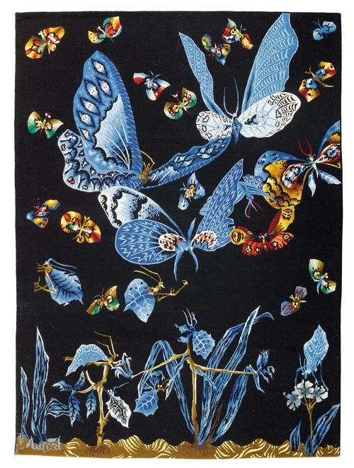 JEAN LURÇAT (1892 - 1966) TAPESTRY, circa 1960 for Atelier de Portalègre Wool. Signed, bottom right LURCAT. Workshop monogram TMP. 150 x 202 cm.