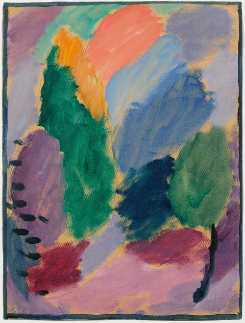 JAWLENSKY, ALEXEJ VON (Toržok 1864 - 1941 Wiesbaden) Variation. 1915. Oil over pencil on paper embossed linen. Monogrammed and dated lower left: AJ 15. With a study variant verso. 36.4 x 27.1 cm. Provenance: Private collection, Switzerland. Literature: Jawlensky, Maria/ Pieroni-Jawlensky Lucia; Jawlensky, Angelika. Alexej von Jawlensky. Catalogue Raisonné of the Oil Paintings, vol. II 1914-1933, p. 64, No. 674 (with colour ill.).