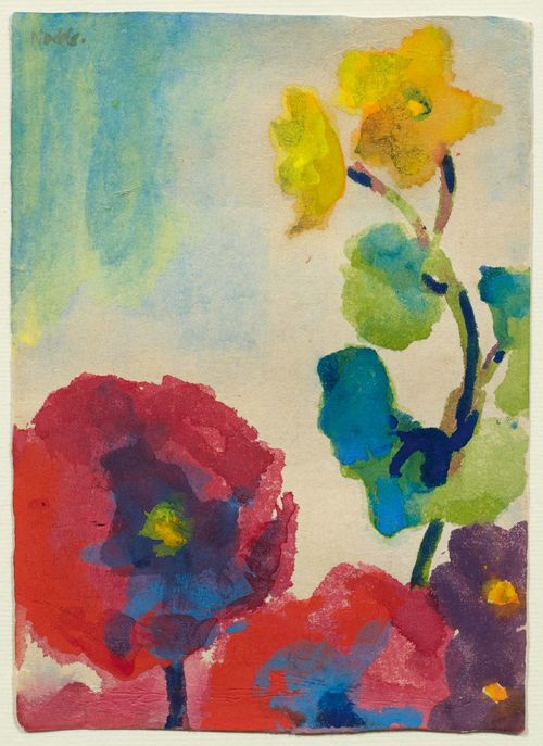 NOLDE, EMIL (Nolde/Nordschleswig 1867 - 1956 Seebüll) Roter Mohn und Gelbe Blüten. Circa 1951/54. Watercolour and gouache on firm Japan laid paper. Signed upper left: Nolde. 19 x 13.5 cm. Dr. M. Urban, of the Foundation Seebüll Ada and Emil Nolde, has confirmed the authenticity of this work: Seebüll, 2 April 1992.