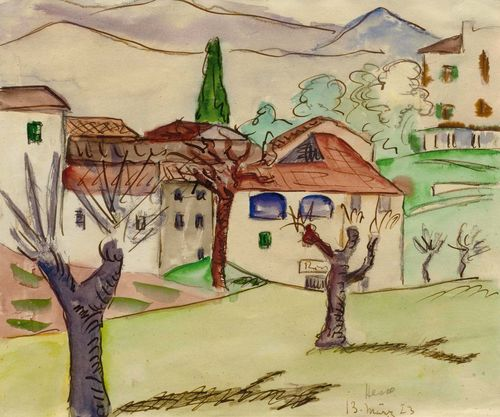 "HESSE, HERMANN (Calw 1877 - 1962 Montagnola) Vorfrühling. 1923. Watercolour over pencil on paper. Signed and dated lower right: Hesse 13 März 1923. Verso additionally entitled ""Vorfrühling"", dated and stamped: ""Hermann Hesse Montagnola Lugano (Schweiz)"". 21.5 x 27.3 cm. The Hermann Hesse museum has confirmed the authenticity of this work: Montagnola, 5 September 2013. Provenance: Private collection, Switzerland, acquired directly from the artist (via inheritance to the current owner)."