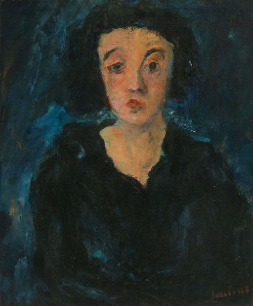 SOUTINE, CHAIM (Smilavichy 1893 - 1943 Paris) Portrait de femme en face. 1929. Oil on canvas. Signed lower right: Soutine. 55 x 46.5 cm. Provenance: - Léopold Zborowski, Paris. - Paul Guillaume, Paris. - Julius Fleischmann, Paris. - Mr. and Mrs. Adolphe A. Juviler, New York (from 1953). - M. Knoedler and Co., Inc., New York. - Gustave and Marion Ring, Washington D.C. - Hadassah Medical Relief Association, Inc., Washington D.C., (from 1988). - Private collection, Europe. Exhibited: - Washington, D.C., 1964: Corcoran Gallery, Modern Paintings and Sculpture in Washington Collections, 30 April - 24 May 1964, Cat. No.97. - Washington, D.C. 1985: Hirshhorn Museum and Sculpture Garden, Selections from the Collection of Marion and Gustave Ring, 17 October 1985 - 12. Jan 1986, Cat. No.46 (with colour ill.). Literature: - Tuchman, Maurice/ Dunow, Esti/ Perl, Klaus. Chaim Soutine, Catalogue Raisonné, vol. II, Cologne, 1993, p. 699, Cat. No.128 (with colour ill). - Courthion, Pierre. Soutine. Peintre du déchirant, Lausanne,1972, fig. B, p. 292 (with ill.).