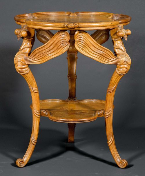 EMILE GALLE SIDE TABLE, ca. 1900. Walnut, carved and inlaid with fruit woods.