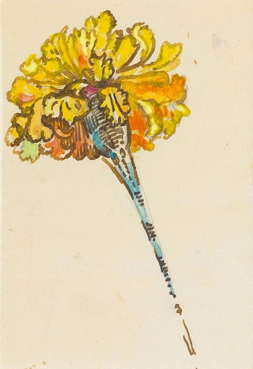 SIGNAC, PAUL (1863 Paris 1935) Study of a carnation. Gouache and ink on paper. 19 x 13 cm (mount cut-out) The authenticity of the work was confirmed by Marina Ferretti, Archives Signac, Paris, 20 April 2015. Provenance: Private collection Geneva.
