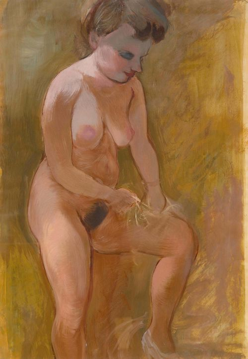 "GROSZ, GEORGE (1893 Berlin 1959) Eva - Woman undressing. 1939. Oil on thin board. 57.5 x 39 cm. Verso with the estate stamp ""Georg Grosz Estate"", and the numbering ""1-A20-2"". 57.5 x 39 cm. The authenticity of the work was confirmed by Dr. Ralph Jentsch, Rome, 6 March 2014. The work is included in the forthcoming catalogue raisonné. Provenance: - Studio of the artist, Douglaston, Long Island, 1940. - Estate of George Grosz, 1959. - Private collection, Italy. - Franco Semenzato, Milan: Auction, 9 November 2000, Lot 221. - Neumeister Kunstauktionen, Munich, 16 November 2006, Lot 570. - Casa delle Aste Meeting Art, Vercelli, 23 November 2013, Lot 418. - Private collection, Italy."