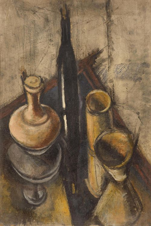 "BRASSAÏ (Gyula Halász) (Kronstadt, Brassó 1899 - 1984 Nizza) Still life with bottle. Oil on cardboard. Signed lower left: Brassai. Verso with the stamp of the Kunstmuseum Brasov: ""Muzeul de Art Brasov"". 73 x 50 cm. Provenance: - Estate of the artist. - Private collection, Germany, since the 1970s. - Through inheritance with the present owner."