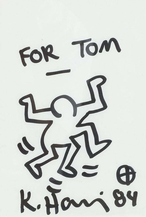 "HARING, KEITH (Kutztown 1958 - 1990 New York) ""For Tom."" 1984. Marker on paper. Signed and dated centre bottom: K. Haring 84. 21 x 15 cm. Provenance : - gift from the artist to the current owner."