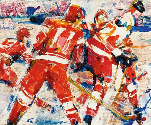 CROSTH WAITE, PAUL (AMENKO) The ice hockey player. No. 11. Acrylic on canvas. Illegibly signed centre bottom: amenkov. 60 x 73 cm.