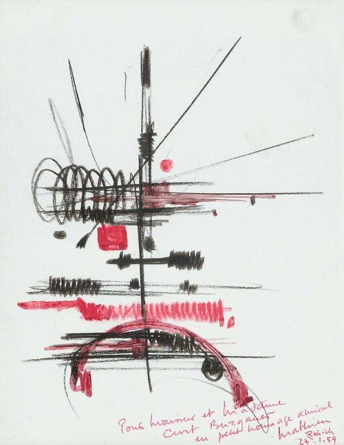 MATHIEU, GEORGES. (Boulogne-sur-Mer 1921 - lives in Paris) Composition. 1959. Grease crayon, gouache and ball point pen on paper. Dedicated lower right, also signed and dated: Pour Monsieur et Madame Curt Burgauer un petit hommage amical, Mathieu Zurich 27.1.59. 21 x 16.2 cm. Provenance : - Curt Burgauer, Zurich . - Private collection , Switzerland.