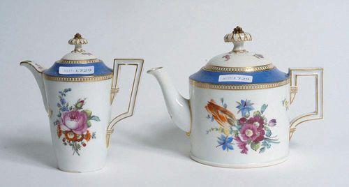 2 COFFEE POTS AND COVERS, Meissen Marcolini, circa 1780. Cylindrical shape with blower bouquets, shoulders in powder blue, picked out in gilding, crossed swords and star in underglaze-blue, 14 and 14,5cm. Small spot with glaze flaking.