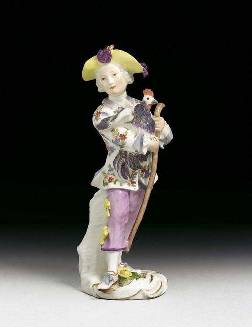 SMALL FIGURE OF A 'GENTLEMAN' WITH COCKEREL, Meissen, mid 18th century. Standing with a walking stick and a cockerel holding on his right arm, rocaille base, picked out in gilding, no mark, 14cm, minimal restoration.