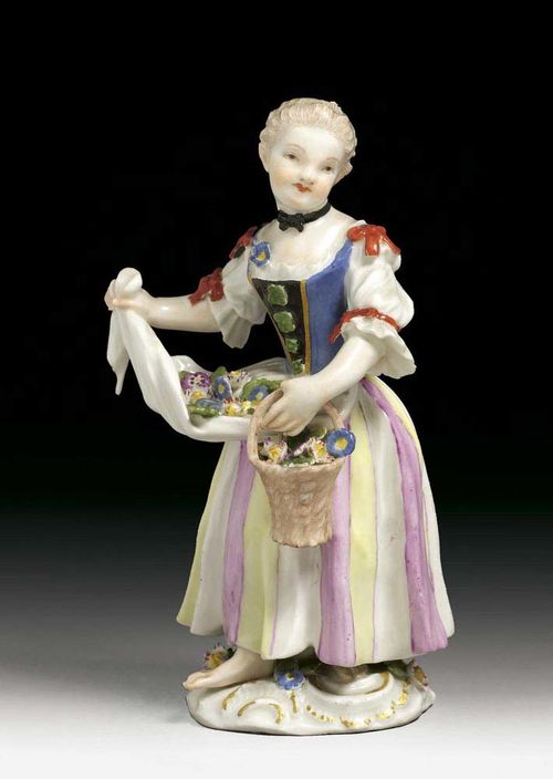 FLOWER GIRL, Meissen, mid 18th century. Model J.J.Kändler,  with a blue waist coat  and striped skirt, her white apron filled with flowers, traces of crossed swords in underglaze-blue, impressed numeral 22, 13,5cm, slightly chipped.