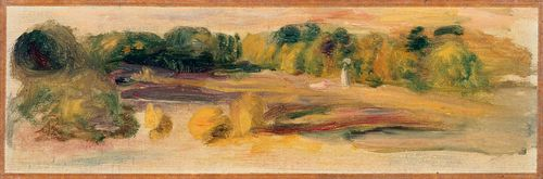 RENOIR, PIERRE AUGUSTE (Limoges 1841 – 1919 Cagnes-sur-Mer) Paysage. Oil on canvas. On the lower left with the monogram: AR. 10 x 30 cm. The authenticity of the work was confirmed by the Wildenstein Institute, Paris, 25. October 2007. Provenance: Private collection, Switzerland (since more 70 years in the family).