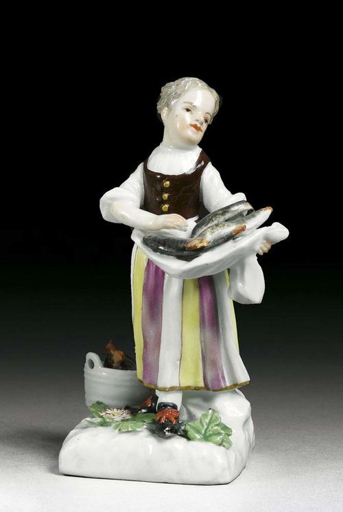 SMALL FISH SELLER, Meissen, circa 1755. Modelled probably by P.Reinicke and J.J.Kändler as a standing girl with fish carrying in her apron, crossed swords in underglaze-blue, 11cm, middle part restored.