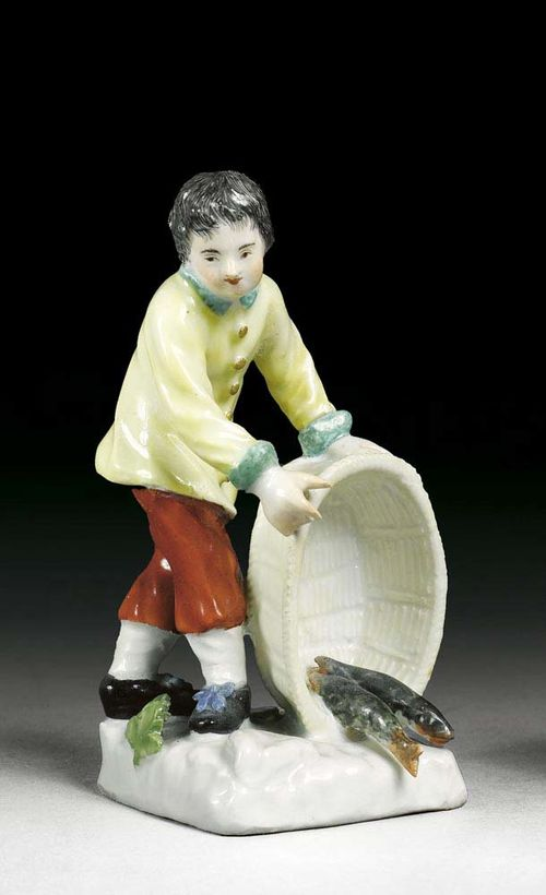 SMALL FISH SELLER, Meissen, circa 1745. Modelled  by P.Reinicke and J.J.Kändler, as a standing boy, fish pouring out of a basket, crossed swords in underglaze-blue, 11cm, restorations.