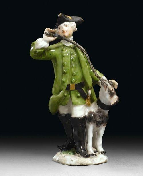 MINIATURE FIGURE OF A HUNTER WITH DOG, Meissen, circa 1755. Model probably by J.J. Kändler or P. Reinicke. Small restorations, H 8.5 cm. Provenance: Private collection, West Switzerland.