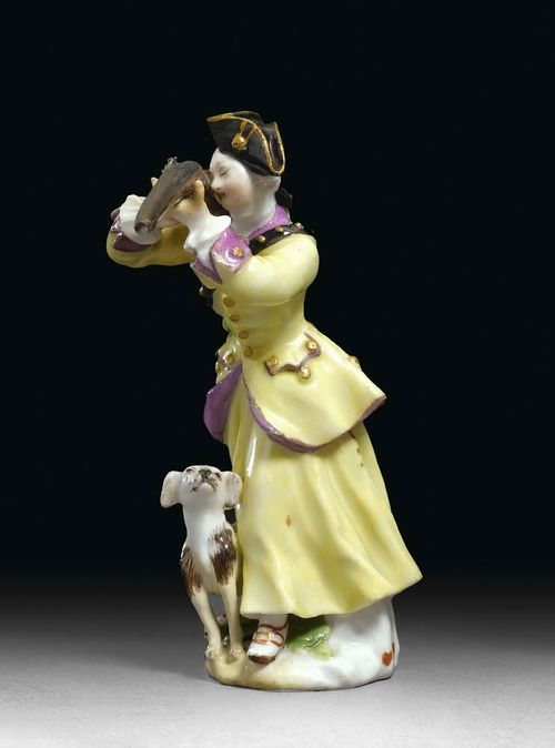 MINIATURE FIGURE HUNTRESS, Meissen, circa 1755. Model probably by J.J. Kändler, faded crossed swords in underglaze-blue, 7,7 cm, small restorations, the hunting bag missing. Provenance: Private collection, West Switzerland.