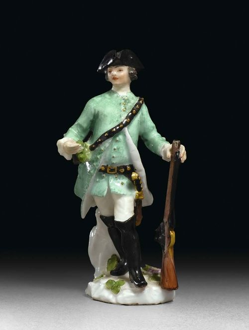 MINIATURE FIGURE OF A HUNTER, Meissen, circa 1755. Model probably by J.J. Kändler or P. Reinicke, crossed swords in underglaze-blue to the rear, H 7.5 cm, restoration to the neck and small areas. Provenance: Private collection, West Switzerland.