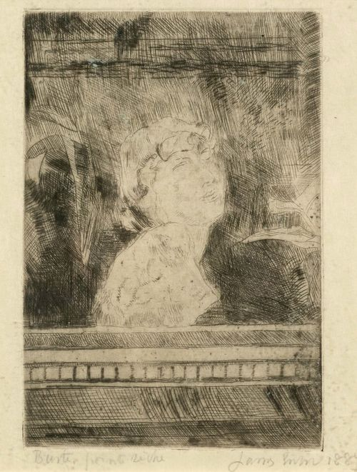 ENSOR, JAMES (1860 Ostende 1949).Bust, 1887. Drypoint etching, 13 x 8.8 cm (Sheet size: 24.8 x 15 cm). Entitled and inscribed in pencil lower left: Buste. point seche. Signed and dated lower right: James Ensor 1887. The artist's signature initials verso. Framed. – Very good condition. - Provenance: Collection of Dr.Trüssel, Bern.