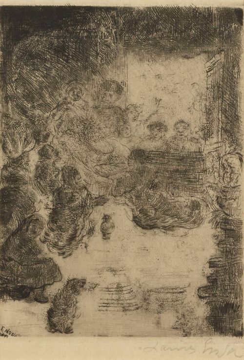 ENSOR, JAMES (1860 Ostende 1949).L'adoration des Bergers, 1888. Drypoint and vernis mou. 15.7 x 11.3 cm (Sheet size: 28.5 x 19.7 cm). Signed lower left in plate: ENSOR. Signed and dated lower right in pencil: James Ensor 1888. Taevernier 58 III (of IV). Artist's signature initials verso. Framed. - Very good condition. - Provenance: Collection of Dr.Trüssel, Bern.