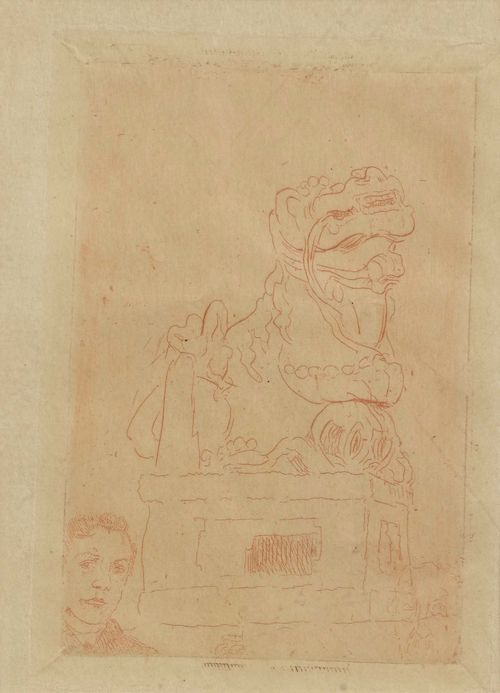 ENSOR, JAMES (1860 Ostende 1949).Chimere. Etching, 91 x 62 cm (Sheet size 23.5 x 14.5 cm). Early impression in red chalk on old Japan paper. Taevernier 25. Framed. – Very fine impression on full sheet. Very good condition.  - Provenance: Collection of Dr.Trüssel, Bern.