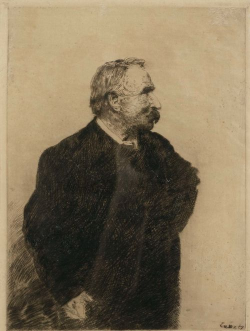 ENSOR, JAMES (1860 Ostende 1949).Ernest Rousseau, 1887. Etching, 22.8 x 16.8 cm (Sheet size: 32 x 22.5 cm). Signed lower right in pencil: James Ensor. Artist's signature initials verso. Taevernier 11 III (of IV). Framed. – Small areas of rubbing on upper right margin. Slight finger soiling in the margins. Good condition. - Provenance: Collection of Dr.Trüssel, Bern.