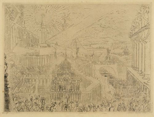 ENSOR, JAMES (1860 Ostende 1949).Prise d'une ville étrange, 1888. Etching on chamois-coloured Simili-Japan, 17.8 x 23.9 cm. Engraved signature lower right in plate: Ensor. Signed and dated lower right in pencil: James Ensor 1888. Entitled and inscribed verso in pencil (by artist's hand?) Taevernier 33. Framed. – Even impression with some omissions, on full sheet. Small traces of mounting on right margin as well as verso. The left edge and the lower right corner somewhat crumpled. The lower left corner with small crease. Slight traces of use. Overall good condition. - Provenance: Collection of  Dr. Trüssel, Bern.