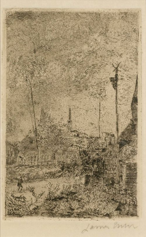 ENSOR, JAMES (1860 Ostende 1949).Chaumières, 1888. Etching on Japan, 11.9 x 7.6 cm (Sheet size: 25 x 16.2 cm). Signature engraved upper right in the plate: Ensor 1888. Signed lower right in pencil: James Ensor. Artist's signature initials verso. Taevenier 50. Framed. – Very fine impression in very good condition. - Provenance: Collection of Dr.Trüssel, Bern.