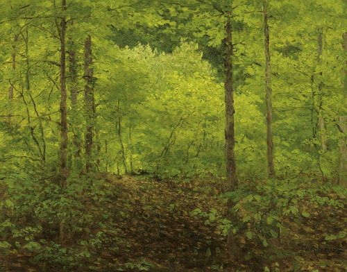 LEVITAN, ISAAC ILYCH (Kibarty 1860 - 1900 Moscow), attributed Forest landscape. Oil on board. Signed in Cyrillic lower right: I. Levitan. 25 x 31 cm.