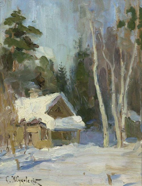 ZUKOWSKY, STANISLAW JULIANOVICH (Grodno 1873 - 1944 Warsaw) Winter landscape. Oil on board. Signed lower left in Cyrillic: S. Zukowsky. 26,5 x 22 cm.