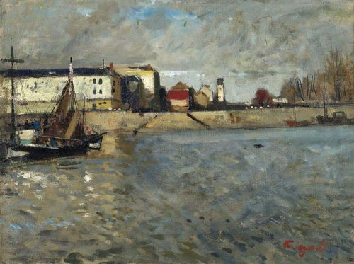 GALL, FRANCOIS (Kolozsvar 1912 - 1987 Paris) Port de Honfleur à marée haute. Circa 1947/55. Oil on canvas. Signed lower right: F. Gall. 43.2 x 60 cm. Expertise: Marie-Lize Gall, Paris, 17. Mai 2005, No. 306. The work will be included in the Catalogue raisonné of the works of François Gall which is in preparation.