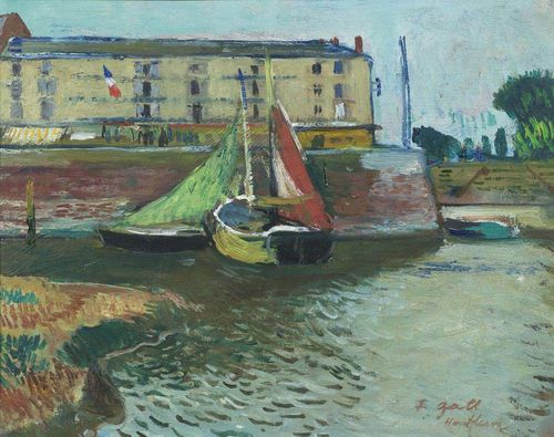 GALL, FRANCOIS (Kolozsvar 1912 - 1987 Paris) Barques à l'entrée du Port de Honfleur. Circa 1947/55. Oil on panel. Signed lower right and inscribed: F. Gall Honfleur. 27.2 x 35 cm. Expertise: Marie-Lize Gall, Paris, 30. April 2006, No. 348. The work will be included in the Catalogue raisonné of the works of François Gall which is in preparation.