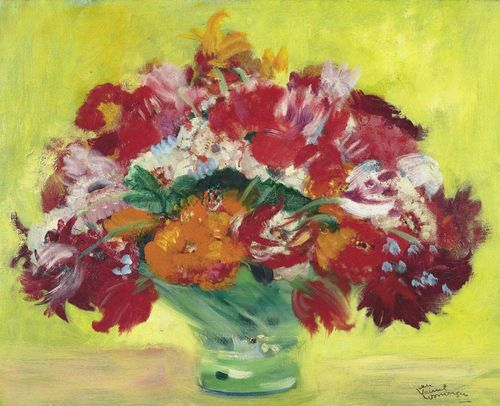 DOMERGUE, JEAN GABRIEL (Bordeaux 1889 - 1962 Paris) Le Bouquet du jardin. Oil on canvas. Signed lower right: Jean Gabriel Domergue. 50 x 61 cm. Expertise: Saint Désir de Lisieux, October 1993.